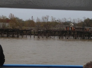 A pier that was damaged in Hurricane Katrina